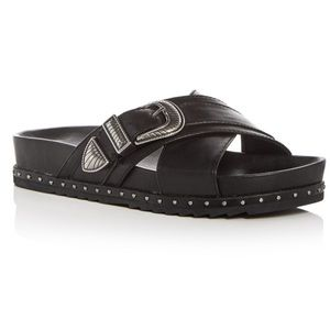 Frye Lily Leather Western Buckle Crisscross Slides